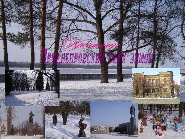 Зимний Приднепровский парк в снегу