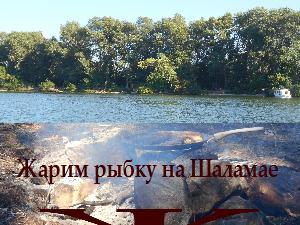 Жарим рыбу на днепровском острове Шаламай
